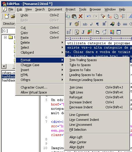 EditPlus - Edit menu