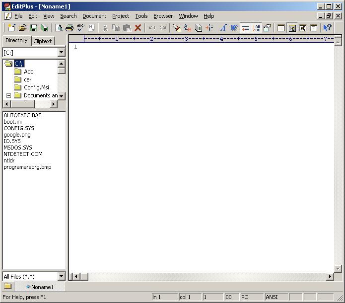 editPlus main Screen