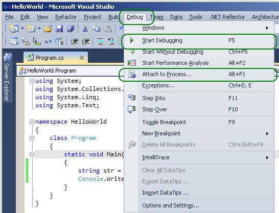 Meniul Debug, in Visual Studio