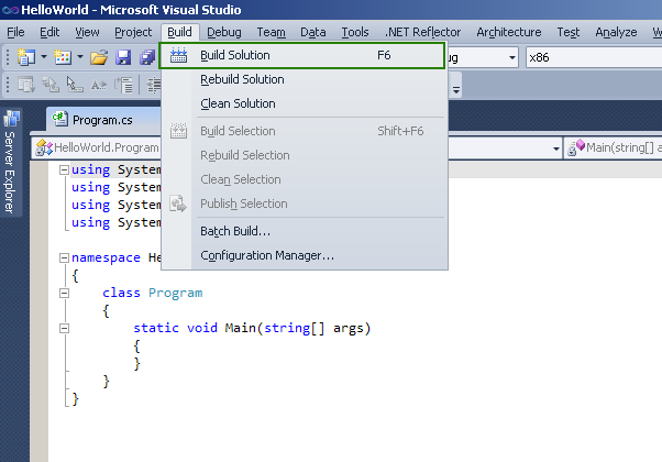 Buildin Visual Studio